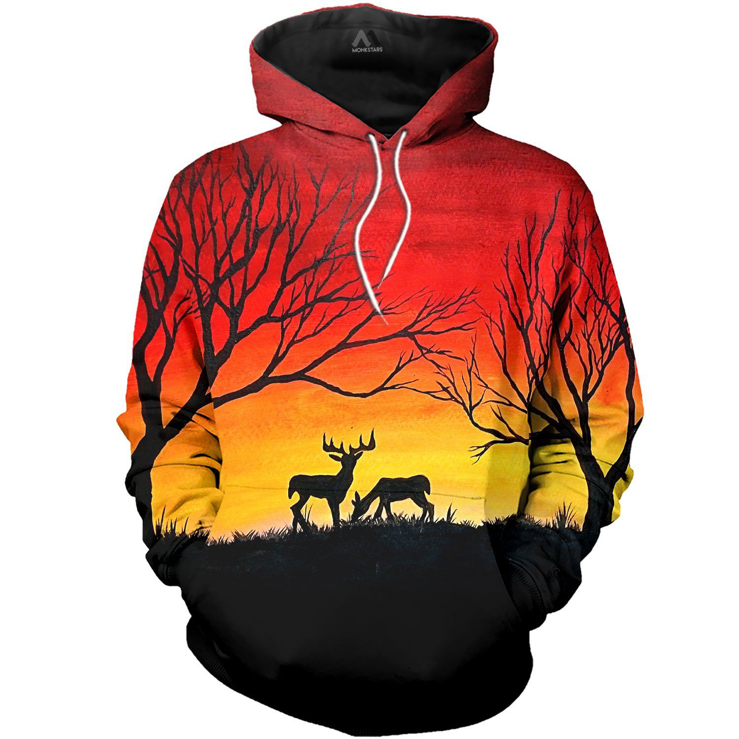 52f7aec7f2b8 Deer At Sunset Acrylic Paintings 3D All Over Printed Shirts For Men   Women