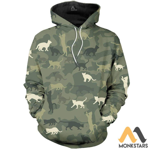 Beautiful Camo Cat 3D All Over Printed Shirts For Men & Women Normal Hoodie / Xs Clothes
