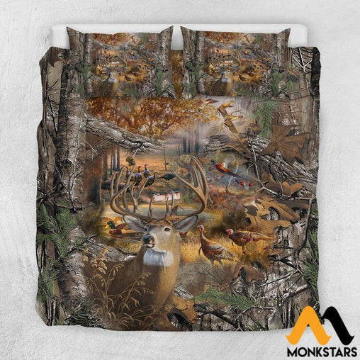 Bedding Set - Hunting Camo Us California King / White
