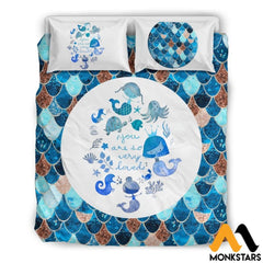 Bedding Set - Lovely Mermaid Black Beding / Queen/full