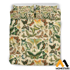 Bedding Set - Vintage Butterflies Us Queen / White Set