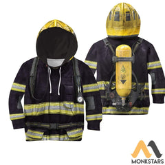 Black Firefighter Suit 3D All Over Printed Shirts For Kids Normal Hoodie / Toddler 2T Kid Clothes