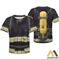 Black Firefighter Suit 3D All Over Printed Shirts For Kids T-Shirt / Toddler 2T Kid Clothes