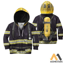 Black Firefighter Suit 3D All Over Printed Shirts For Kids Zipped Hoodie / Toddler 2T Kid Clothes