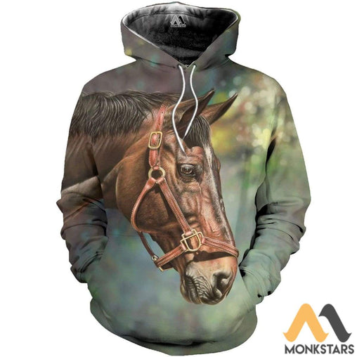 Brown Horse Face 3D All Over Printed Shirts For Men & Women Normal Hoodie / Xs Clothes