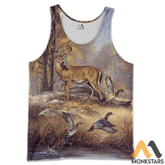 Duck And Deer 3D All Over Printed Shirts For Men & Women Tank Top / S Clothes