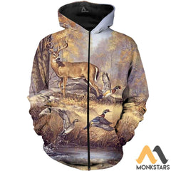 Duck And Deer 3D All Over Printed Shirts For Men & Women Zipped Hoodie / Xs Clothes