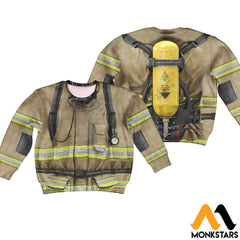 Firefighter Suit 3D All Over Printed Shirts For Kids Long-Sleeved Shirt / Toddler 2T Kid Clothes