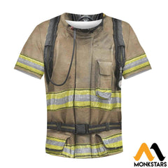 Firefighter Suit 3D All Over Printed Shirts For Kids T-Shirt / Toddler 2T Kid Clothes