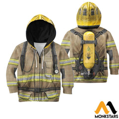 Firefighter Suit 3D All Over Printed Shirts For Kids Zipped Hoodie / Toddler 2T Kid Clothes