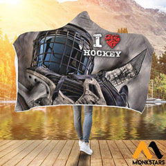 Hooded Blanket - Love Hockey Adult