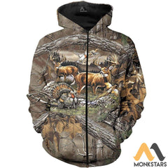 Hunting 3D All Over Printed Shirts For Men & Women Zipped Hoodie / S Clothes
