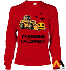Im Digging The Halloween Gildan 6.1Oz Long Sleeve / Red S