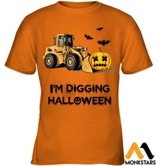 Im Digging The Halloween Gildan Kids Tee / Safety Orange S