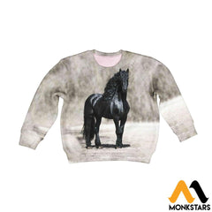Kid 3D All Over Printed Black Horse Shirts And Shorts Long-Sleeved Shirt / Toddler 2T Clothes