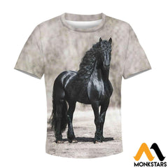 Kid 3D All Over Printed Black Horse Shirts And Shorts T-Shirt / Toddler 2T Clothes
