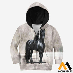 Kid 3D All Over Printed Black Horse Shirts And Shorts Zipped Hoodie / Toddler 2T Clothes