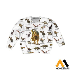 Kid 3D All Over Printed Dinosaur Collection Shirts And Shorts Long-Sleeved Shirt / Toddler 2T