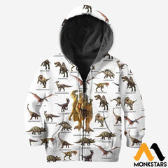 Kid 3D All Over Printed Dinosaur Collection Shirts And Shorts Zipped Hoodie / Toddler 2T Clothes