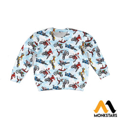Kid 3D All Over Printed Motorcross Shirts And Shorts Long-Sleeved Shirt / Toddler 2T Clothes