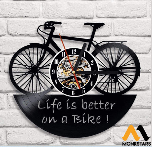Life Is Better On A Bike Vinyl Record Wall Clock