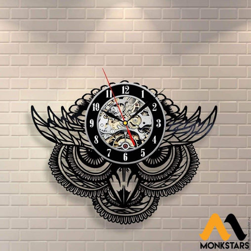 Mysterious Owl Vinyl Record Wall Clock 1