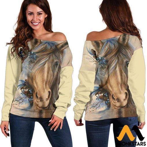 Off Shoulder Sweater - Painting Horse