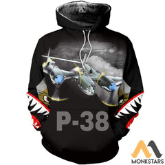 P-38 3D All Over Printed Shirt For Men & Women Hoodie / S Clothes