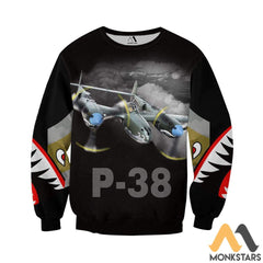 P-38 3D All Over Printed Shirt For Men & Women Long-Sleeved / S Clothes