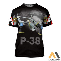 P-38 3D All Over Printed Shirt For Men & Women T-Shirt / S Clothes