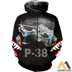 P-38 3D All Over Printed Shirt For Men & Women Zip Hoodie / S Clothes