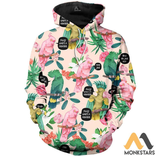Parrot Art 3D All Over Printed Shirts For Men & Women Normal Hoodie / Xs Clothes