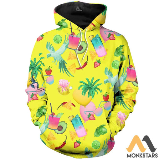 Parrot With Summer 3D All Over Printed Shirts For Men & Women Normal Hoodie / Xs Clothes