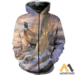 Pheasants In The Snow 3D All Over Printed Shirts For Men & Women Zipped Hoodie / Xs Clothes