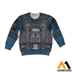 Police Costume 3D All Over Printed Shirts For Kids Long-Sleeved Shirt / Toddler 2T Kid Clothes