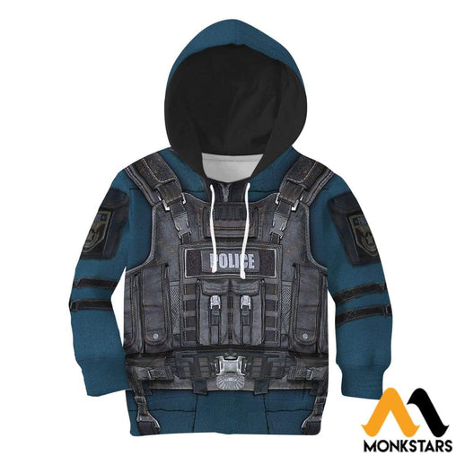 Police Costume 3D All Over Printed Shirts For Kids Normal Hoodie / Toddler 2T Kid Clothes