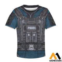 Police Costume 3D All Over Printed Shirts For Kids T-Shirt / Toddler 2T Kid Clothes