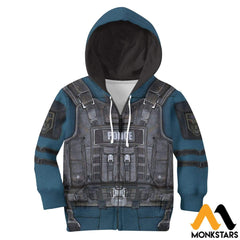 Police Costume 3D All Over Printed Shirts For Kids Zipped Hoodie / Toddler 2T Kid Clothes