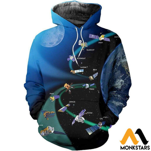 Satellites Orbit Earth 3D All Over Printed Shirts For Men & Women Normal Hoodie / Xs Clothes