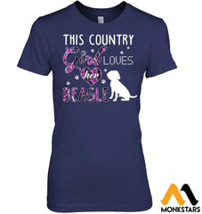 This Country Girl Loves Her Beagle Hanes Womens Nano-T / Navy S Apparel