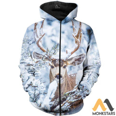 Winter Deer 3D All Over Printed Shirts For Men & Women Zipped Hoodie / Xs Clothes