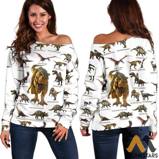 Womens Off Shoulder Sweater - Dinosaurs