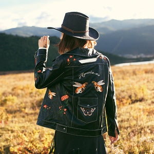 Black Embroidered Leather Jacket