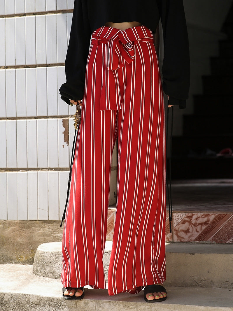 Red Striped Wide Leg Pants