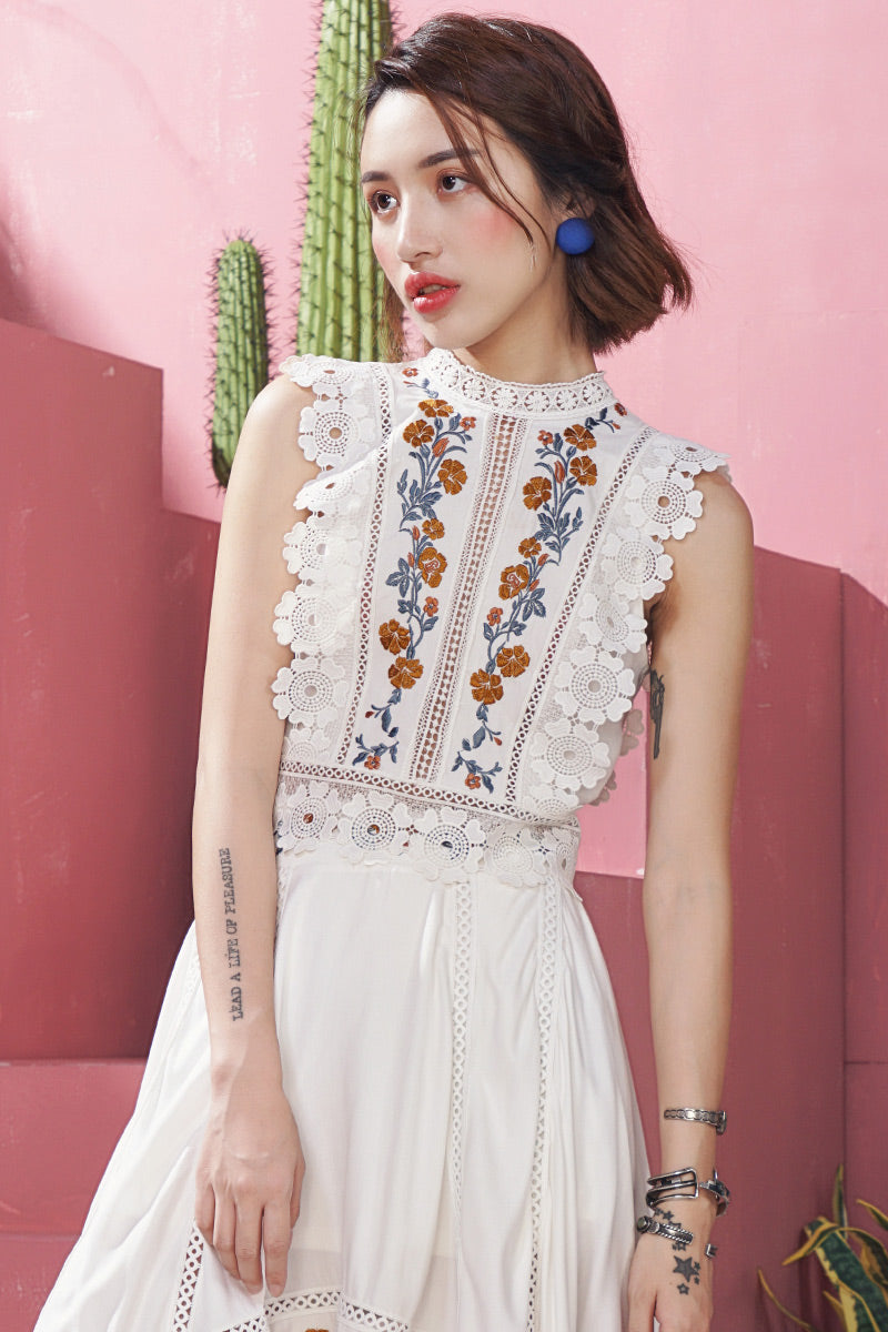 Floral Embroidered White Lace Top