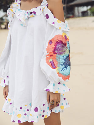 Bohemian Floral Embroidered Dress