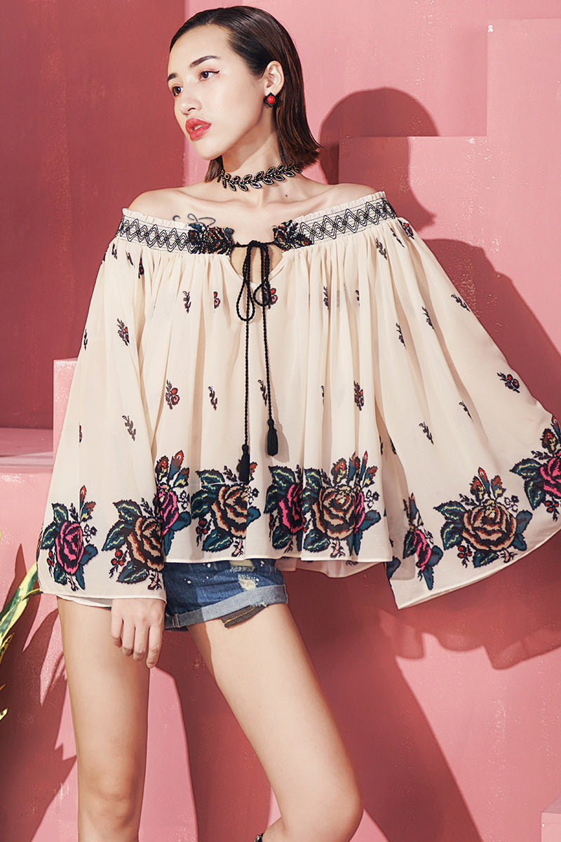Bohemian Trumpet Sleeve Top