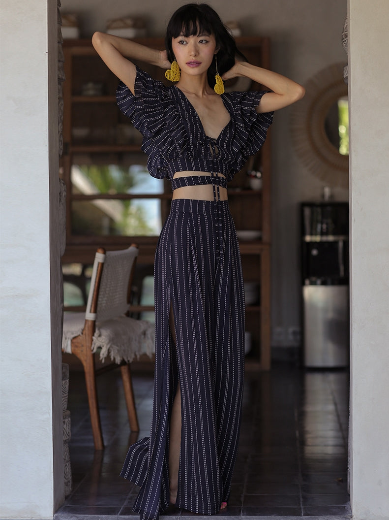V-Neck Ruffle Striped Two-Piece Suit