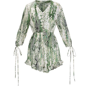 Green Snake Printed Playsuit
