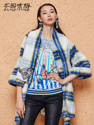 Blue Plaid Woolen Coat